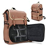 GOgroove Full-Size Tan Digital SLR Camera Backpack Case for Nikon D850 - Photography and Laptop Travel Bag with Accessory Storage Room, Tripod Holder & Weatherproof Rain Cover