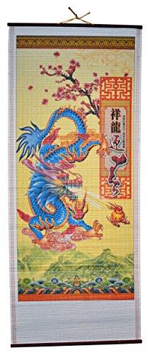 Rattan Wall Scroll - Blue Dragon - Harvey Wall Sculpture