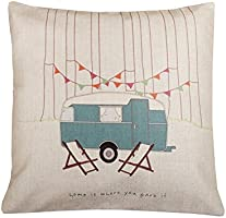 Cotton Linen Square Decorative Throw Pillow Case Vintage Cushion Cover home is where you park it