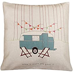 Cotton Linen Square Decorative Throw Pillow Case Vintage Cushion Cover home is where you park it