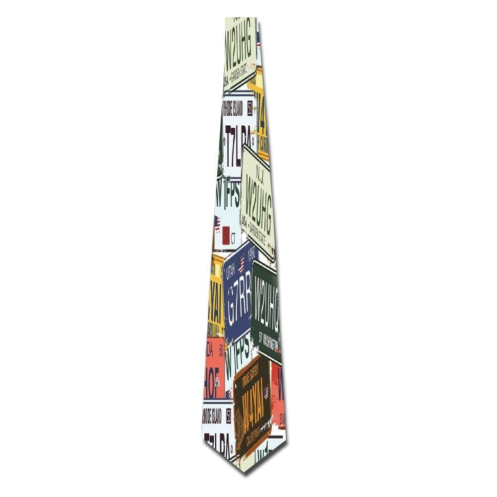 WuLion Original Retro License Plates Creative Travel Collections Art Men's Classic Silk Wide Tie Necktie (8 CM)