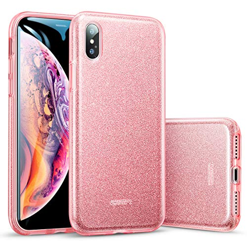 ESR Makeup Glitter Case for iPhone Xs Max, Glitter Sparkle Bling Cover [Three Layer] for iPhone 6.5 inch (Released in 2018)(Rose Gold)