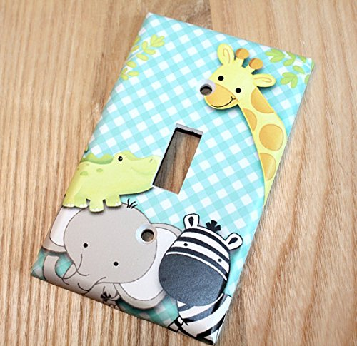 A to Z Jungle Animal Single Light Switch Cover Boys Bedroom Single Light Switch Cover LS0063 (Single Decora) Toad and Lily LS0063b