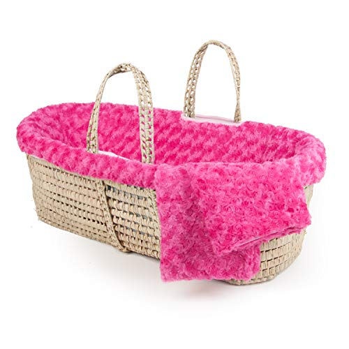 Cozy Baby Basket - Tadpoles Tadpoles Twisted Fur Moses Basket Bedding and Basket Set, Fuchsia