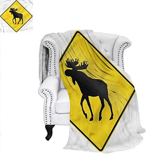 RenteriaDecor Moose Travel Throw Blanket Elk Crossing Traffic Sign Blanket 60