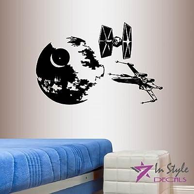 Wall Vinyl Decal Home Decor Art Sticker Death Star Starship Blue TIE Fighter X-Wing Starfighter Children Kids Nursery Bedroom Living Room Removable Stylish Mural Unique Design 2114