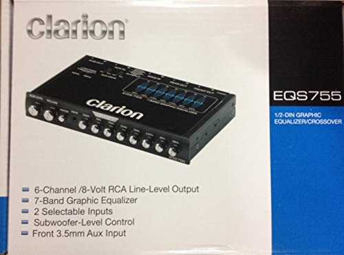 (Clarion EQS755 7-Band Car Audio Graphic Equalizer with Front 3.5mm Auxiliary Input, Rear RCA Auxiliary Input and High Level Speaker Inputs )