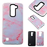 LG K7 Cases, Cozy Hut® 2 in1 Hybrid Case Cover for LG K8, Hard Cover for LG K7 / K8 Marble Printed Design PC+ Silicone Hybrid High Impact Defender Case Combo Hard Soft Cases Covers Anti Shatter, Anti-Scratch, Anti-Fingerprint for LG K7 / K8 - Pink white marbl