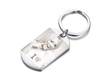 Vnox Personalizado Personalizado Grabado Etiqueta de Perro de Acero Inoxidable Llavero Personalizado Foto y Texto Llavero para Hombres