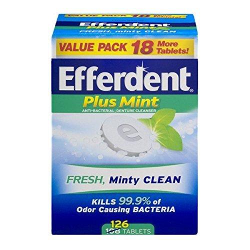 Denture Cleanser Plus Tablets Efferdent (Efferdent Plus Mint Anti-Bacterial Denture Cleanser Tablets, 126 Count by Efferdent)
