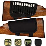 BronzeDog Nylon Adjustable Buttstock Holder Rifles 300 308 Winmag Padded Camo Shell Holder Pouch Bag Right Handed Hunting Accessories (Plain Black)
