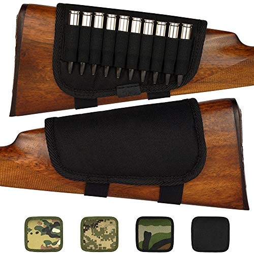 BRONZEDOG Nylon Adjustable Buttstock Holder for Rifles .30-30 .308 .30-06 Winmag Padded Camo Shell Holder Pouch Bag Right HandedHunting Accessories (Plain Black) (Marlin 30 30 Stock)
