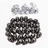 Surepromise Punk Skull Head Leather Rivets Set for Bag Shoe Clothing Nails Included Pack of 30