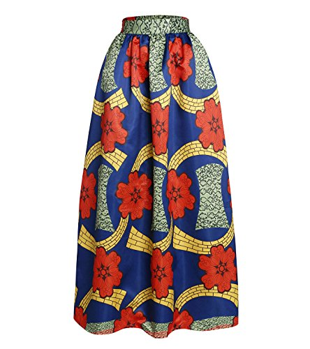 Red Dot Boutique 8824 - Plus Size Ethnic African Print Long Maxi Skirt (3X, Floral)