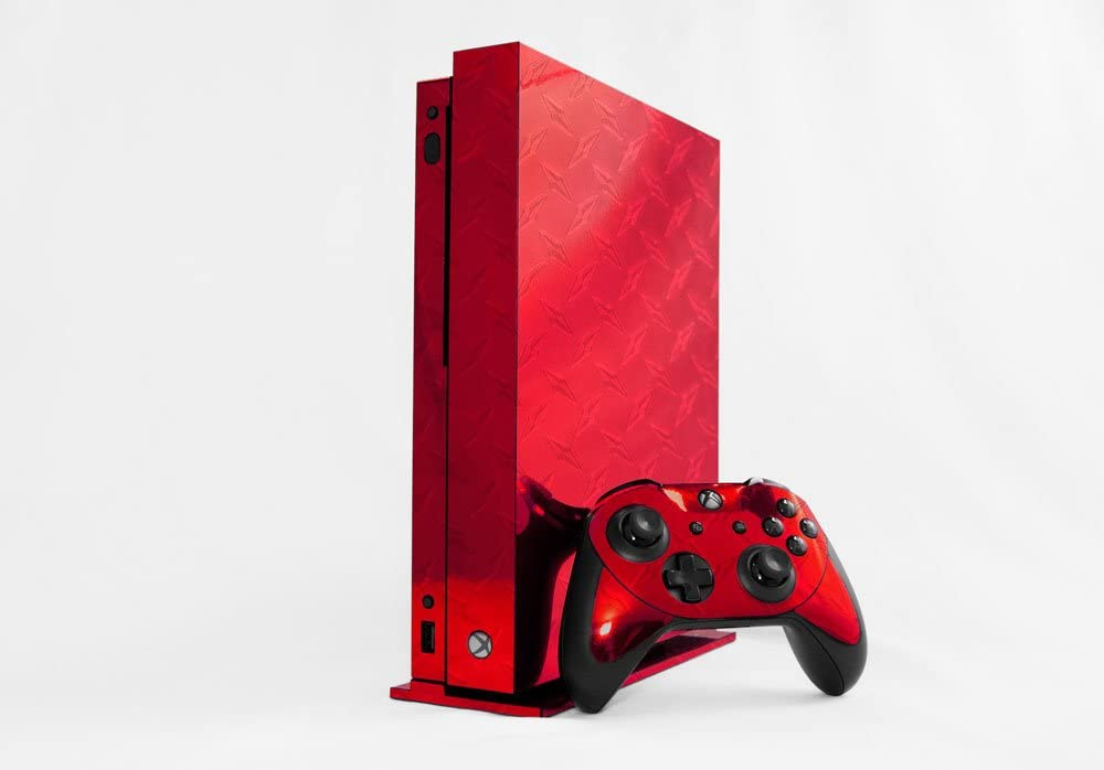 Amazon Com Microsoft Xbox One X Skin Xb1x New Red Diamond Plate Mirror System Skins Faceplate Decal Mod Video Games