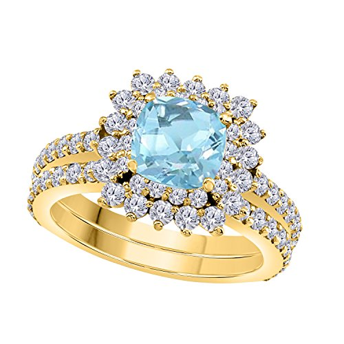 1.50 Ct Cushion & Round Cut Cteated Aquamarine & Cubic Zirconia 14k Yellow Gold Over Starburst Design Wedding Engagement Ring Halo Bridal Sets Size 4 to 11 ()