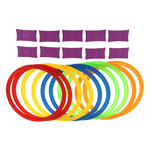MonkeyJack 11.6in Diameter 10 Rings & 10 Ring Clips Twister Hopscotch Active Indoor Play Game Complete Set with Box for Children Kids Play for Fun by MonkeyJack