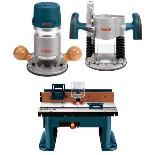 Bosch 1617EVSPK 12 Amp 2-1/4-Horsepower Plunge and Fixed Base Variable Speed Router with Benchtop Router Table by Bosch