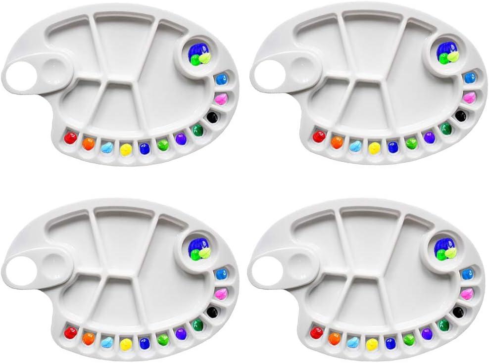 Non-Stick Paint Palette Artist Paint Mixing Tray Palette Oval Shaped 17 Holes (4 Pcs)
