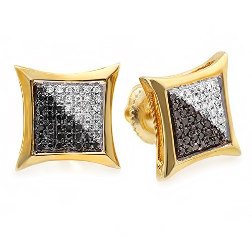 Dazzlingrock Collection 0.25 Carat (ctw) 10K White & Black Round Diamond Micro Pave Setting Kite Shape Stud Earrings 1/4 CT, Yellow Gold
