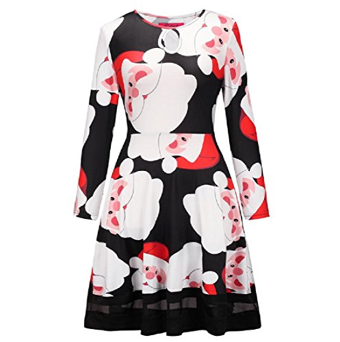 Mesh Comfy Women Stitching Christmas Printed Waist Dress Party Pattern8 Pullover Ogwpvq