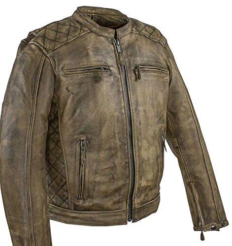 Distressed Brown Leather Motorcycle Jacket - 1