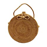 Women Straw Rattan Handbags Shoulder Bag Summer Beach Dual-use Crossbody Tote Bag (7.8'' Bow Tie Clasp with Lining)