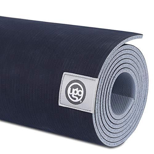 UGO Rubber Yoga Mat 71 x 26 Inch Extra Large Reversible Non-Slip Texture for Meditation/Hot Yoga/Pilates/Fitness Exercise Navy Blue(5MM)