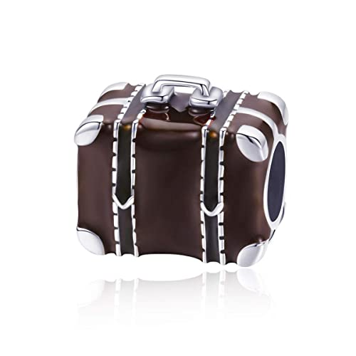 16fa8c3a09ae Amazon.com: WOSTU Travel Charms 925 Sterling Silver Suitcase Bead ...