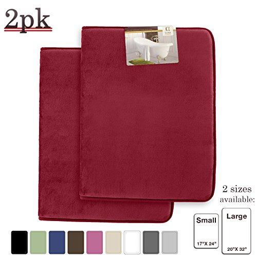 "Clara Clark Memory Foam Bathrug 2 Pack Set - Burgundy - Bath Mat and Shower Rug Large 20"" x 32"" Inches, Non Slip Latex Free Plush Microfiber. Comfortable, Beautiful and Maximum Absorbency."