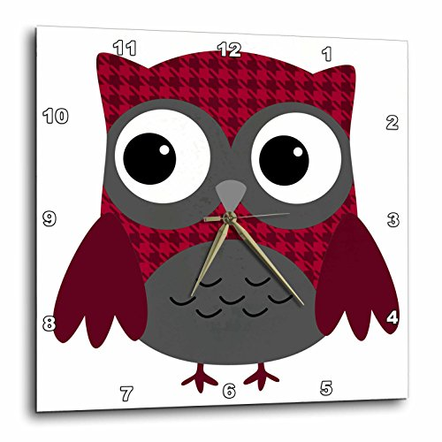 3dRose dpp_61031_1 Cute Ruby Red Houndstooth Patterned Owl-Wall Clock, 10 by ()