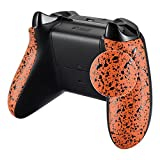 eXtremeRate Textured Back Panels, Comfortable Non-slip Side Rails, 3D Splashing Handles, Game Improvement Replacement Parts for Microsoft Xbox One X & One S Controller (Orange) For Sale