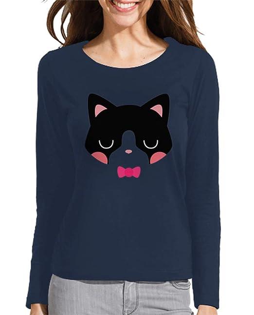 latostadora - Camiseta Gato para Mujer Azul Marino S