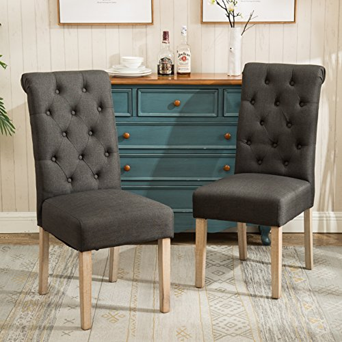 Roundhill Furniture C161CC Habit Solid Wood Tufted Parsons Dining Chair, Set of 2, Charcoal - Curved Back Dining Chair