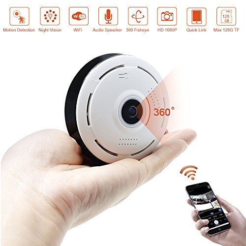 IP Camera Wireless Security Camera LXMIMI 360° Panoramic IP Camera 1080P Fisheye Camera Super Wide Angle Wireless Surveillance Camera with IR Night Vision and Motion Detection WiFi 2.4 GHz