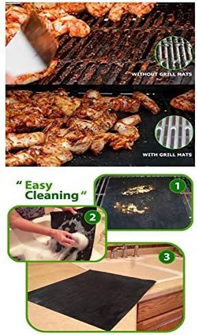 &Jundy Lot de 5 tapis de cuisson anti-adhésif réutilisables et faciles à nettoyer pour barbecue – Fonctionne sur du charbon de gaz 40 x 33 cm