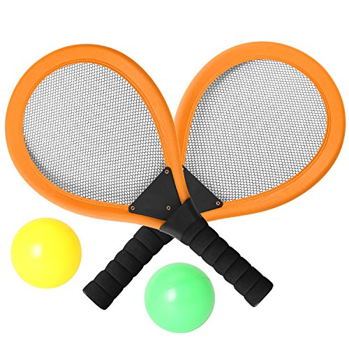Pack of 2 17'' Badminton Tennis Rackets Kit with 2 Balls Junior Sports Elastic Mesh Badminton Racquets Set for Kids Outdoors Play Game Toy(595-Orange)