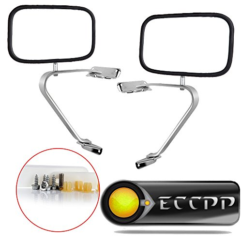 Mirrors Chrome Side Set - ECCPP Manual Side View Mirrors Chrome Pair Set for 80-96 Ford F-Series F150 F250 F350 Bronco Pickup Truck SUV