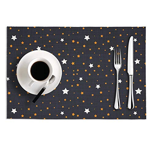 Galaxy star trend bule table mats heat resistant kitchen placemats no slip tablemats washable PVC 2 pieces dining mats 1812 ()