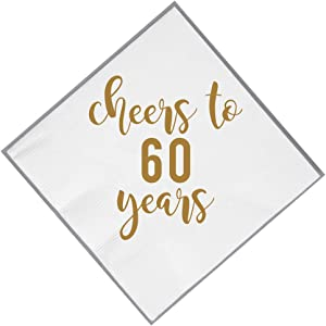 60th Napkins, 50 pack Cheers to 60 Years Gold Foil Napkins! Perfect 60th Birthday Supplies for him or her! 60th Anniversary decorations in white and gold (60, White)