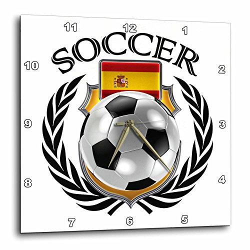 3dRose Spain Soccer Ball with Fan Crest Wall Clock, 10 x 10'' by 3dRose
