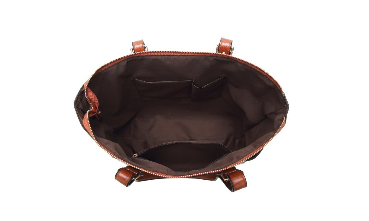 Women's Vintage Fine Fibre Genuine Leather Bag Tote Shoulder Bag Handbag Model Pocket Black by AMAIA DURAN (Image #7)