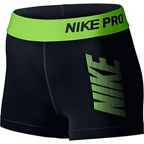 Nike Women's Pro Cool Base Layer Short (XS, Black/Green Dark)