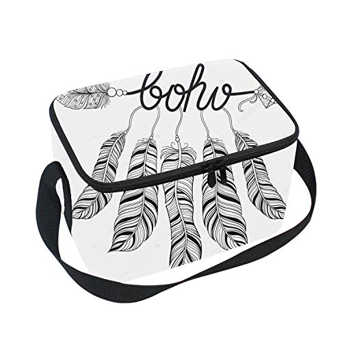 - Lunch Bag Insulated Lunchbox Cooler Pouch Shopper Tote Curved Arrow Feathers Portable Fashion Handbag for School Work