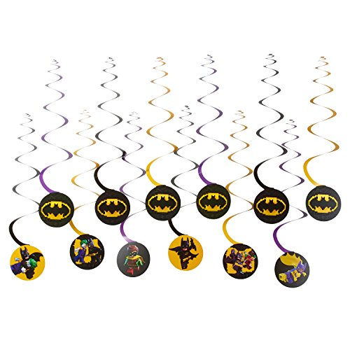 Lego Batman Birthday Party Supplies (American Greetings Lego Batman Hanging Swirl Decorations, Multicolor,)