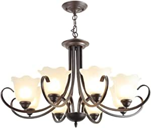 Vintage Chandelier Chain Hang Metal Table Centerpiece for Indoor Or Outdoor Gazebo, Patio Decoration, Black (Size : 8 Light)