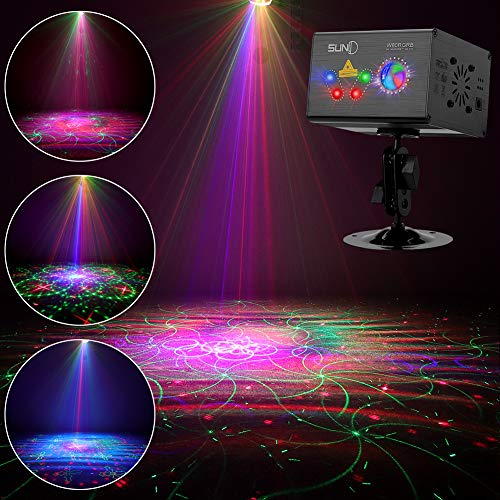 Party Laser Lights SUNY Hardwired Sound Activated Light RGB Multiple Patterns Projector Galaxy LED Ripple Wave Projector Indoor Decorative DJ Lights For Xmas Disco Decor Holiday Event Laser Light Show - Music Laser Light