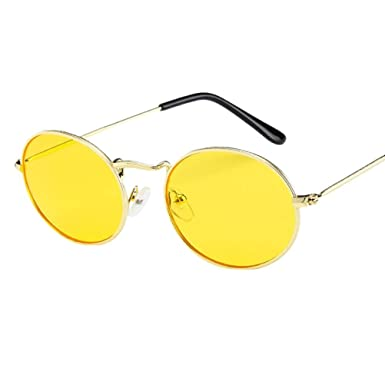 Lunettes de soleil Unisexe Longra Vintage Retro ovale Des lunettes de soleil  Ellipse Métal Lunettes à 0e795027ce7c