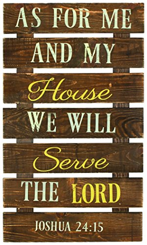 Carson 27.5″ x 16″ Primitive Wood Plank Wall Art (We Will Serve the Lord)