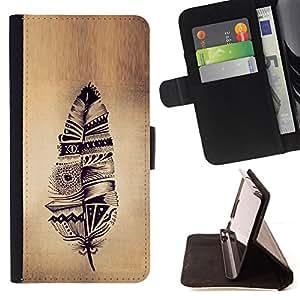 - feather Indian native parchment rustic - - Prima caja de la PU billetera de cuero con ranuras para tarjetas, efectivo desmontable correa para l Funny HouseFOR HTC Desire 820
